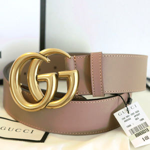 NWT Dusty Pink Leather Double G Brass Buckle Belt